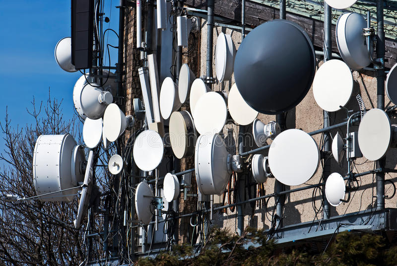 Telecommunication antennas stock photography