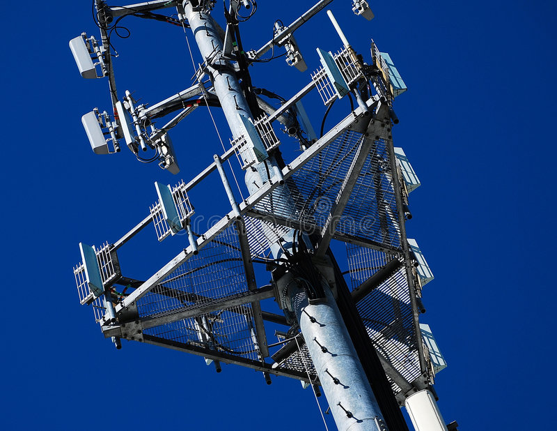 Telecommunication Antennas. Closeup of Wireless Panel Antennas for Cellular Phones stock images
