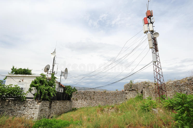 Telecommunication antennas of Berat. On Albania royalty free stock images