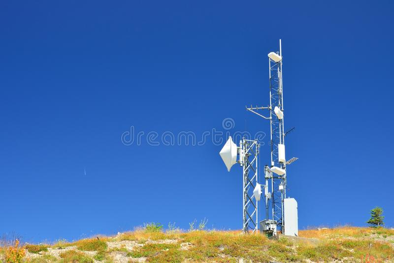Telecommunication antennas royalty free stock photos
