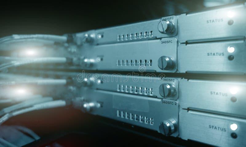 Telecommunication Broadband Fiber Optical Cables. Datacenter rack. Technology concept. stock photo