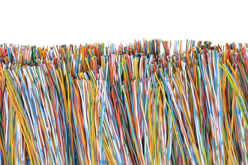 Telecommunication cables. Used in computer and telecoms networks royalty free stock images