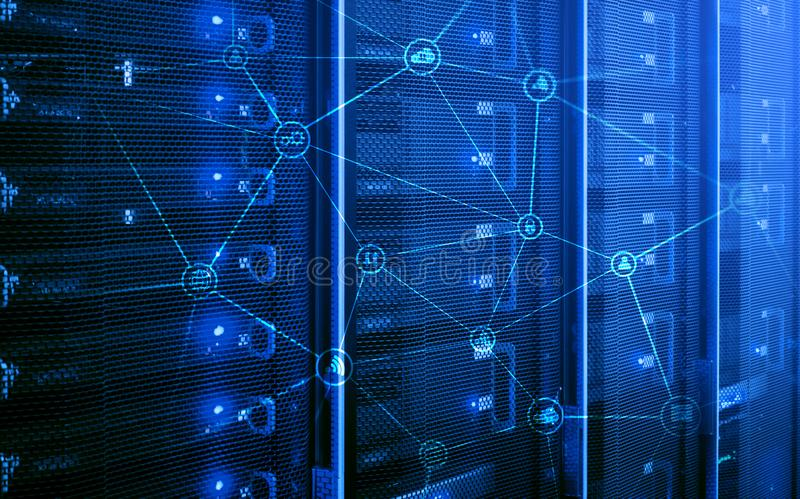 Telecommunication concept with abstract network structure and server room background.  royalty free stock images