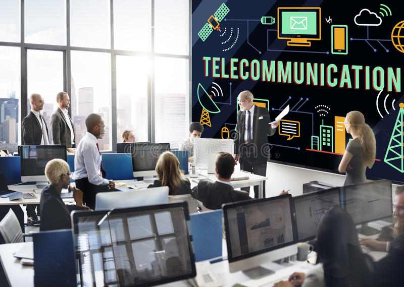Telecommunication Connection Links Networking Concept stock images