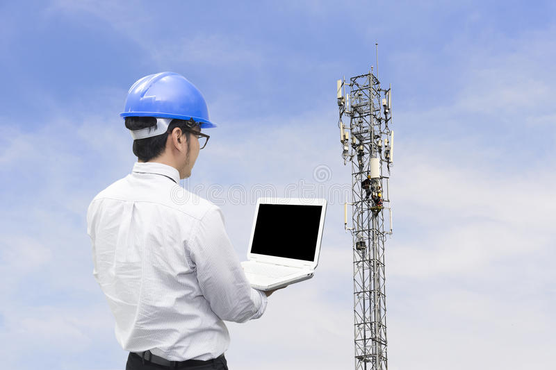 The telecommunication engineer royalty free stock photos