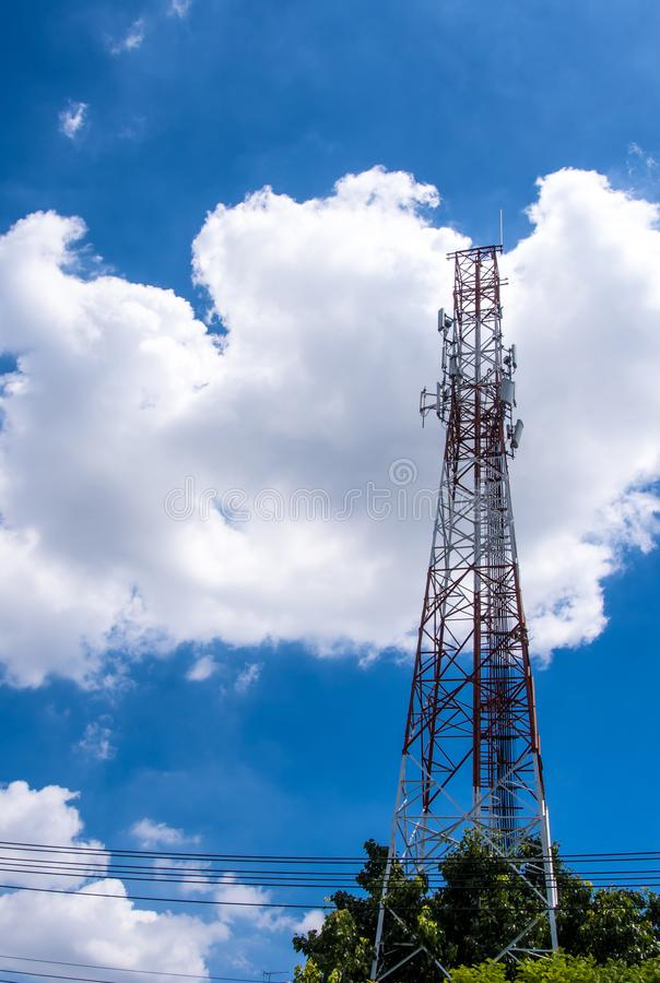 Telecommunication equipment on the steel structure tower and the stock photos