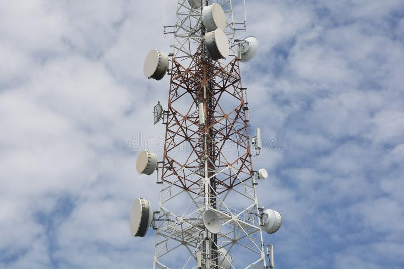 Telecommunication equipments attached on antenna pole. Communication Technology stock image