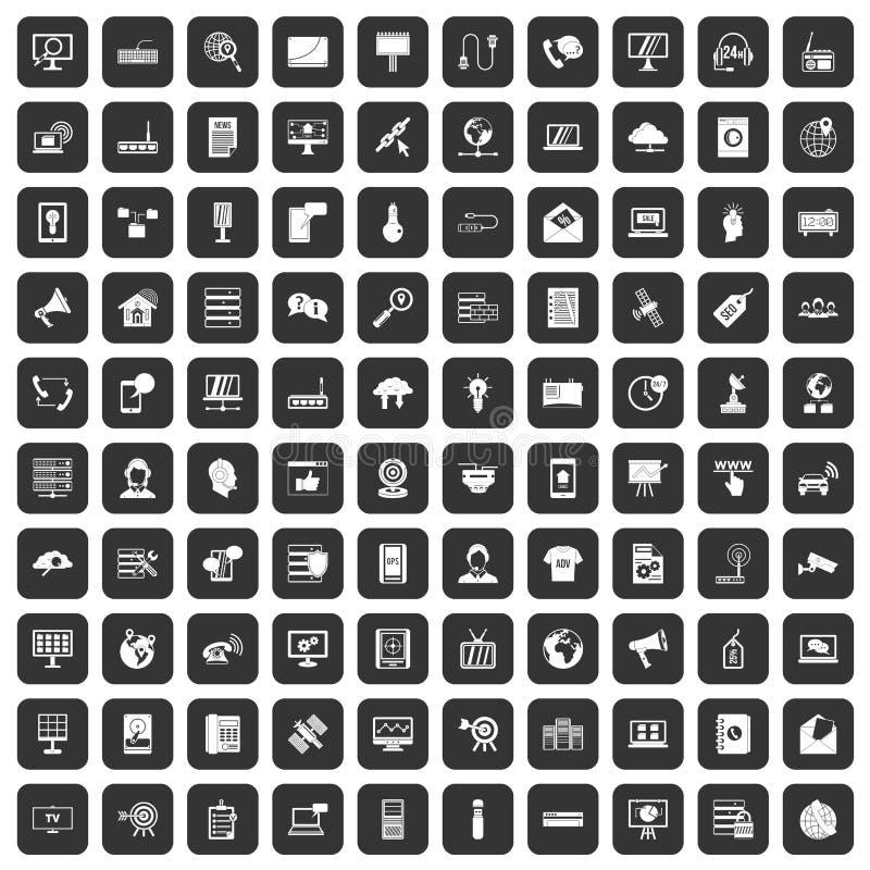 100 telecommunication icons set black. 100 telecommunication icons set in black color isolated vector illustration stock illustration