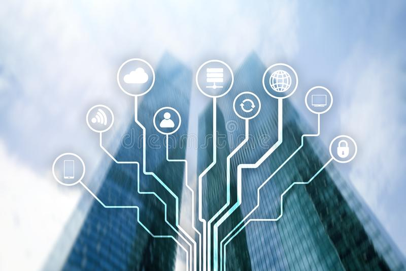 Telecommunication and IOT concept on blurred business center background. Telecommunication and IOT concept on blurred business center background stock image