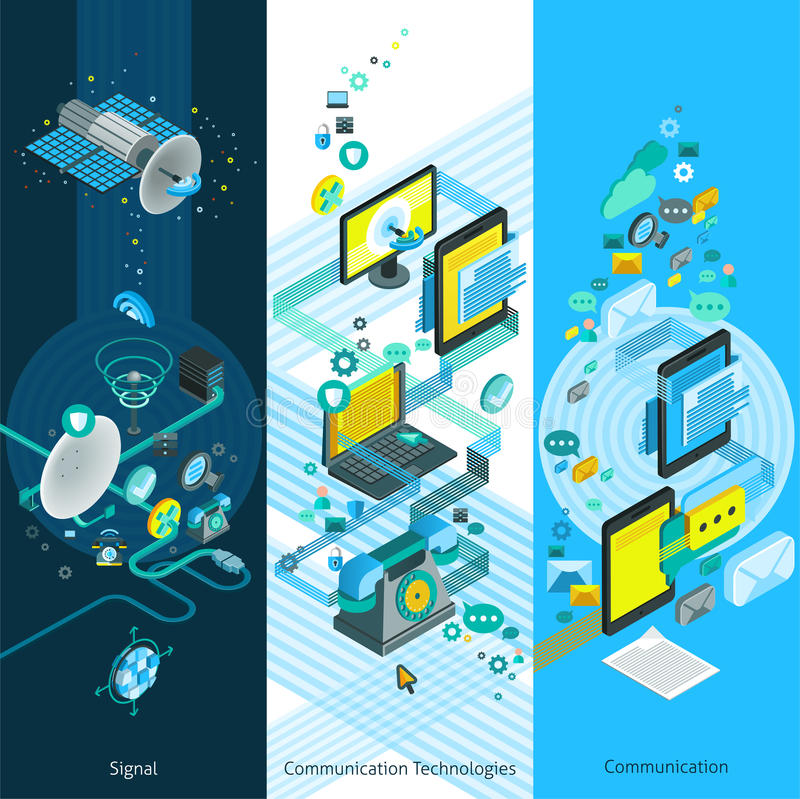 Telecommunication Isometric Vertical Banners stock illustration