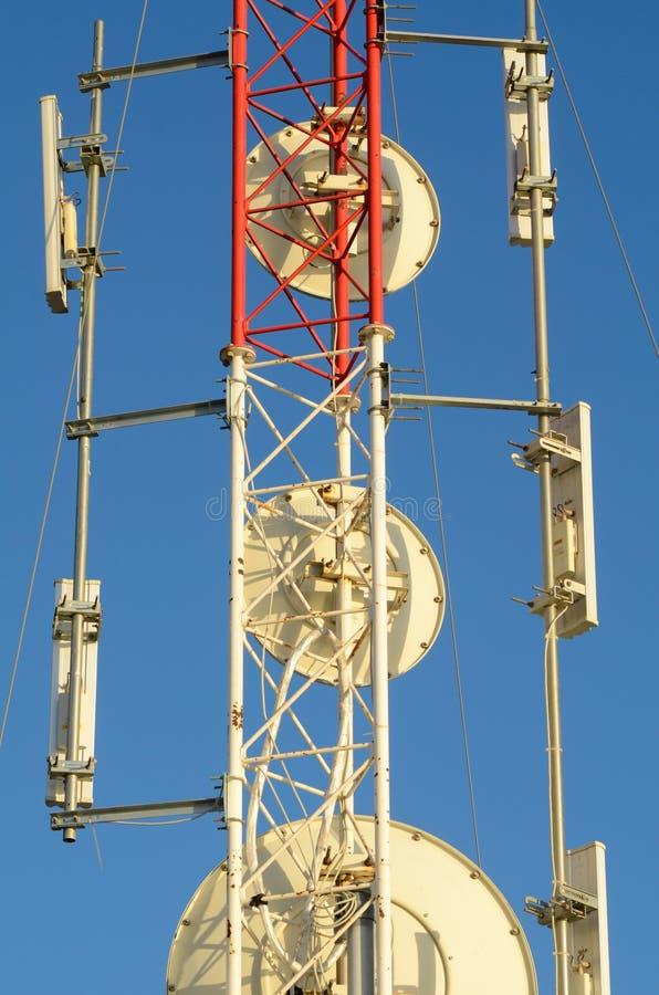Telecommunication mast detail. Detail take of a huge telecommunication mast royalty free stock image