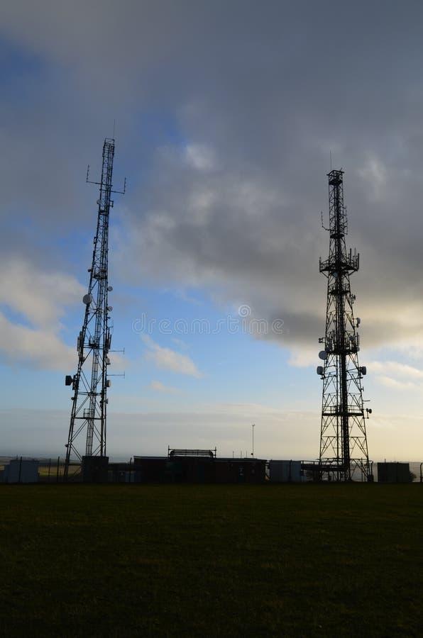 Telecommunication Masts. Large British telecommunication masts transmitting from the South Coast of England royalty free stock photo