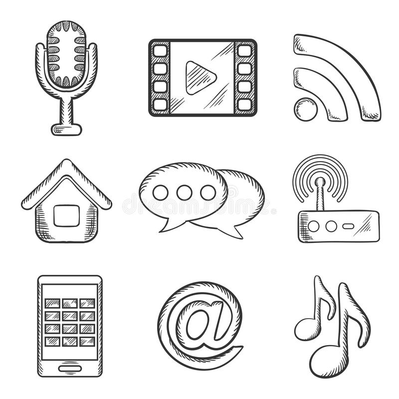 Telecommunication And Multimedia Sketched Icons Stock Vector