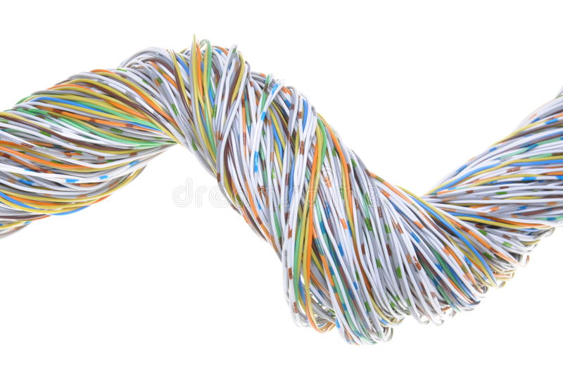 Telecommunication network cables. Isolated on white background stock photo