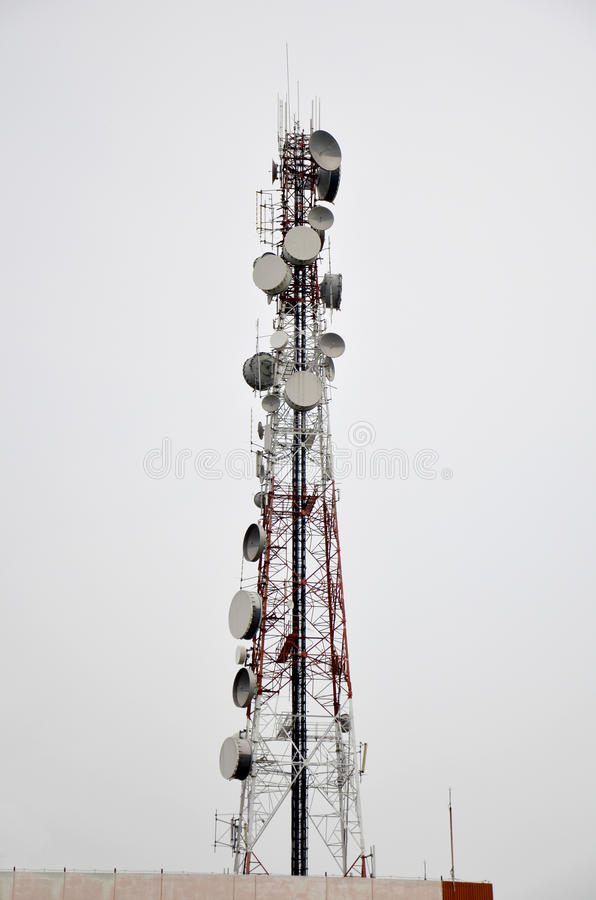 Telecommunication Pole or Mobile phone tower. Or transmission systems royalty free stock images