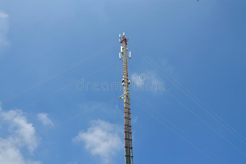 Telecommunication pole. A telecommunication pole on outdoor stock image