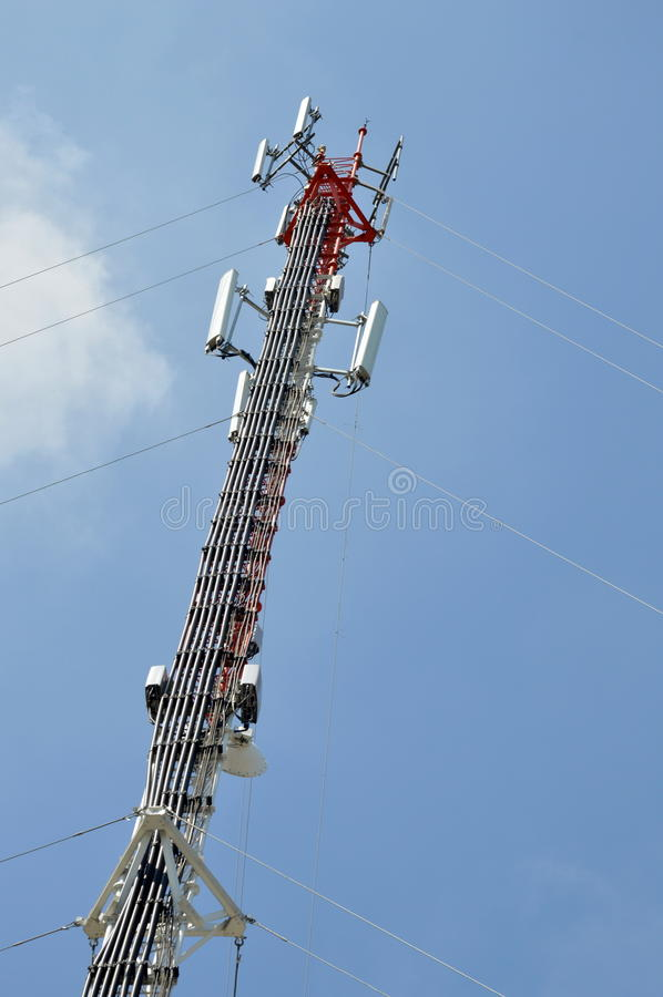 Telecommunication pole. A telecommunication pole on outdoor stock images