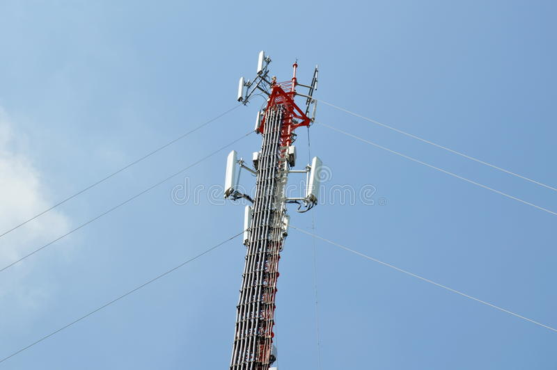 Telecommunication pole. A telecommunication pole on outdoor royalty free stock images