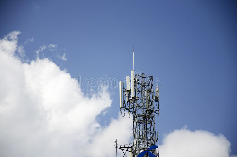 Telecommunication Pole with Sky and Clouds Background. Radio Relay Link, Mobile Base Station, Telecommunication Pole with Sky and Clouds Background royalty free stock photos