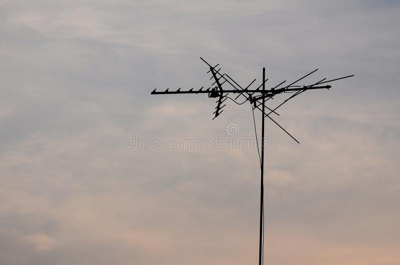 Telecommunication pole with sky at dawn. Telecommunication pole with sky at dawn stock image