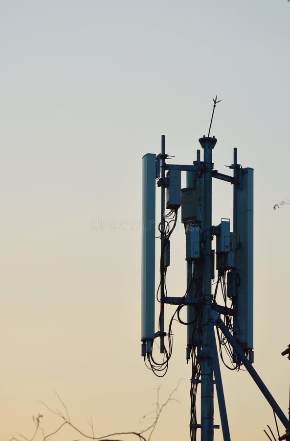 Telecommunication pole stock photo