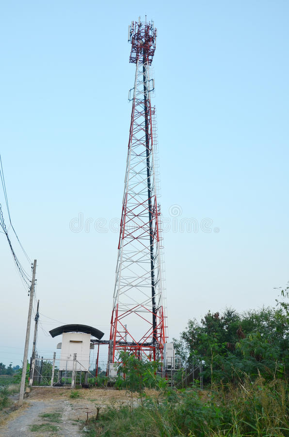 Telecommunication Pole. A utility pole is a column or post used to support overhead power lines and various other public utilities, such as cable, fibre optic stock photography