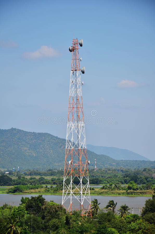 Telecommunication Pole. And View point of Kanchanaburi Thai royalty free stock image