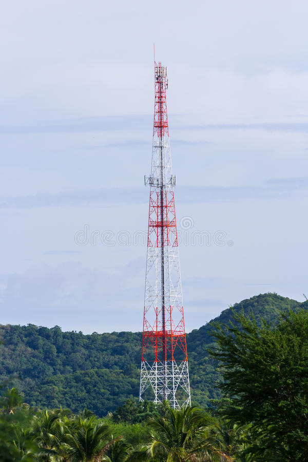 Telecommunication post. In the middle of mountain royalty free stock image