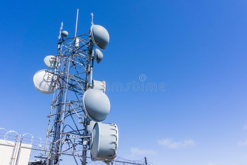 Telecommunication Radio antenna Tower, California royalty free stock photos