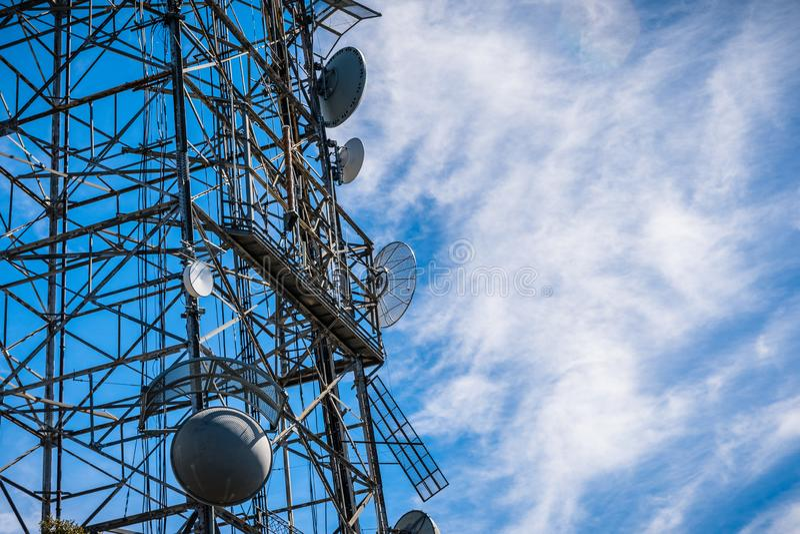 Telecommunication Radio antenna Tower, California stock image