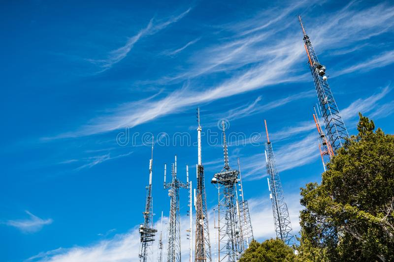 Telecommunication Radio antenna Towers on top of Mt Wilson, Los Angeles county, California royalty free stock photos