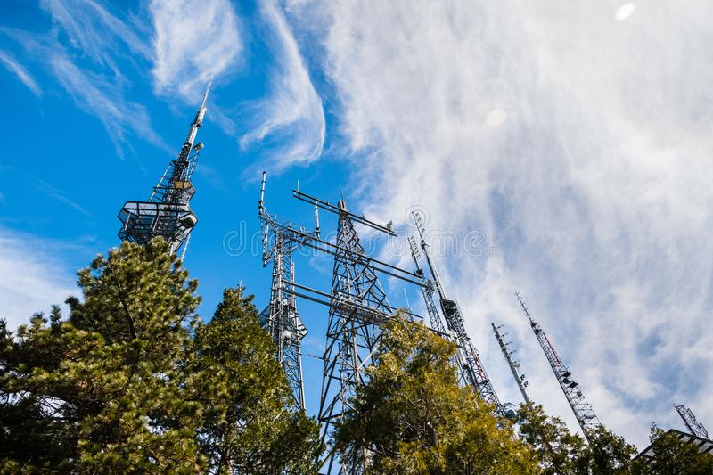 Telecommunication Radio antenna Towers on top of Mt Wilson; Los Angeles county, California royalty free stock photos