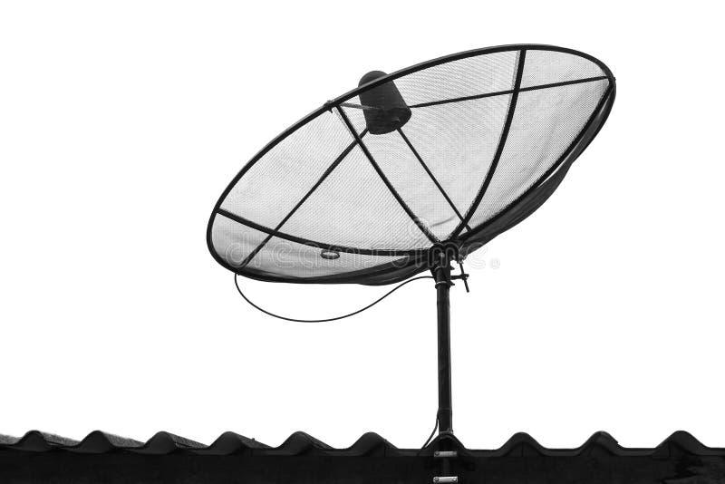 Telecommunication satelite dish isolated. On white background stock photos