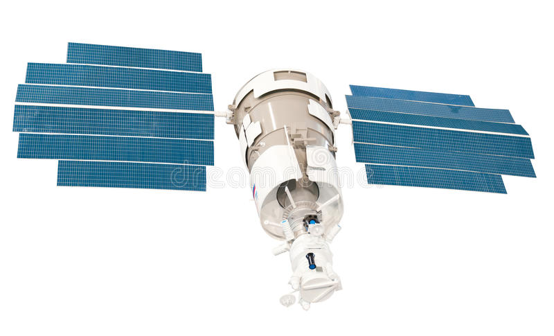 Telecommunication Satellite. Model of the Telecommunication Companion with solar batteries royalty free stock images