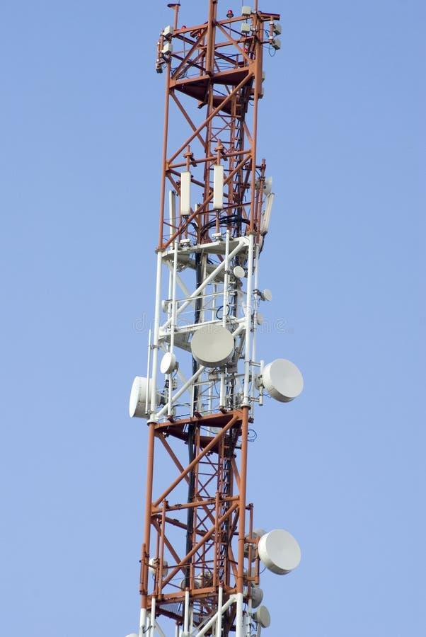 Telecommunication Room Design: Long Telecommunication Tower Stock Image