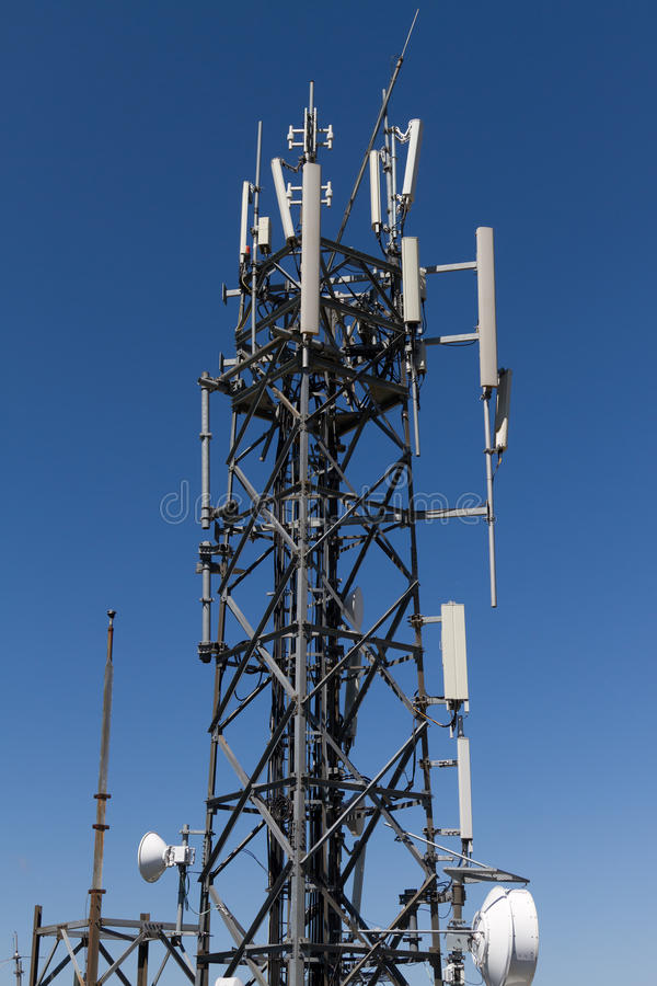 Telecommunication Tower. With Sky Background stock images
