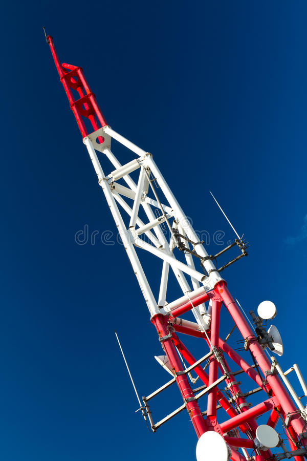 Telecommunication Tower. With Blue Sky Background stock images