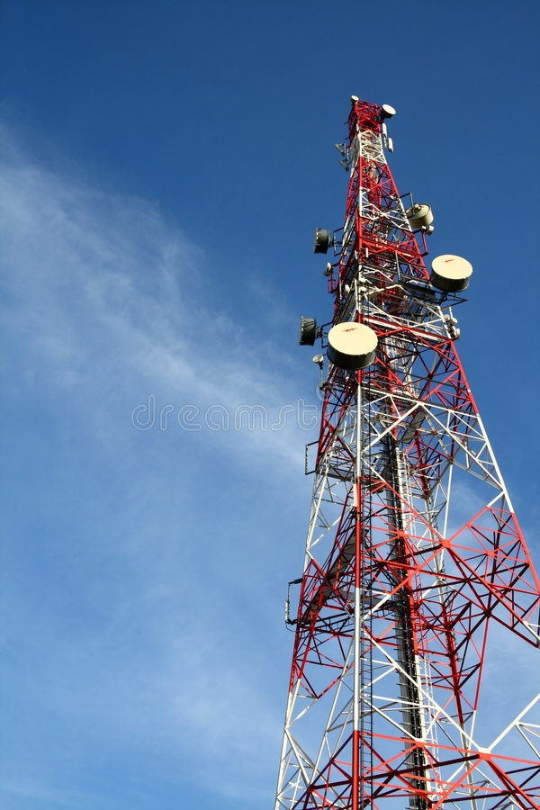 Telecommunication tower. A photo of telecommunication tower over blue sky royalty free stock images