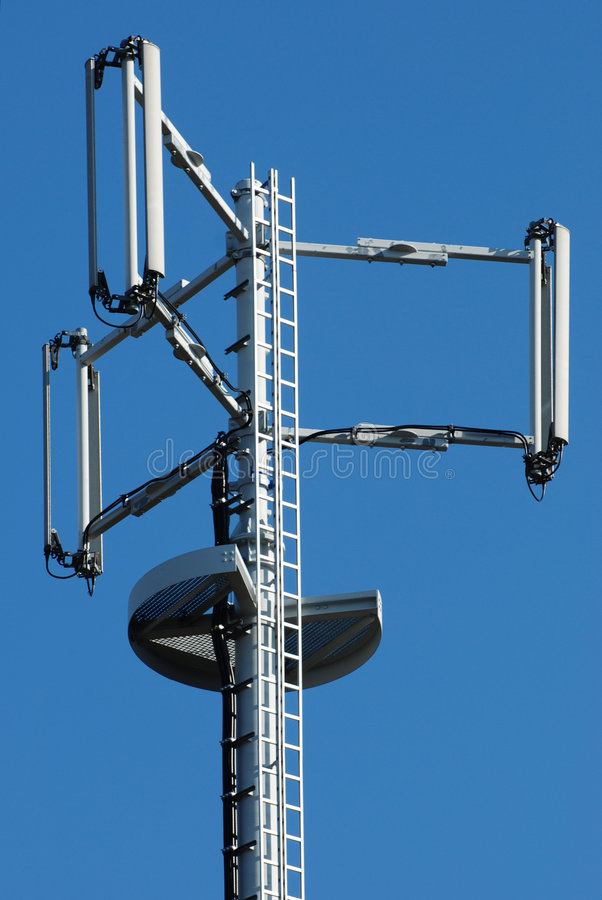 Telecommunication tower. The image shows detailed the top of a broadcasting tower stock photos