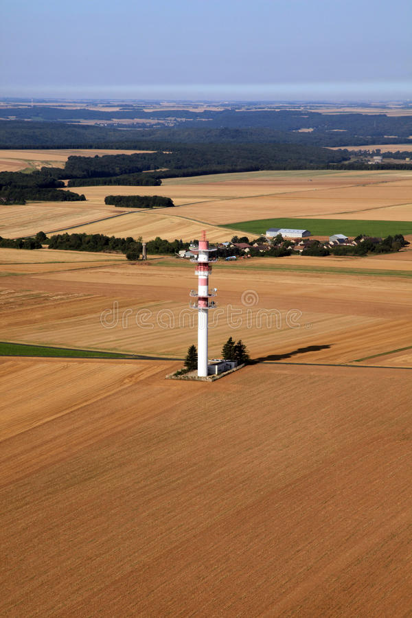 Telecommunication tower. Aerial view in France royalty free stock image
