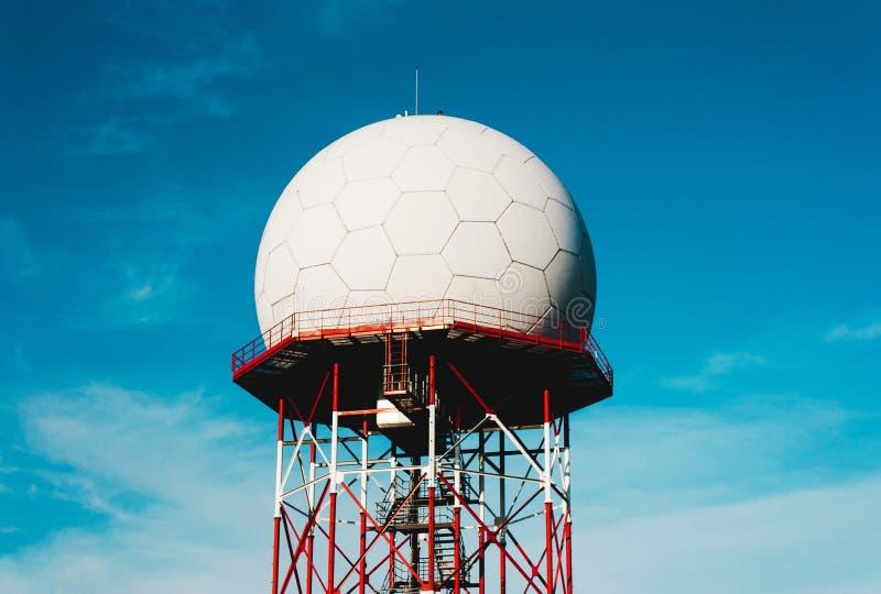 Telecommunication tower against the blue sky , Telecom celullar mobile ,cell antenna, transmitter royalty free stock images
