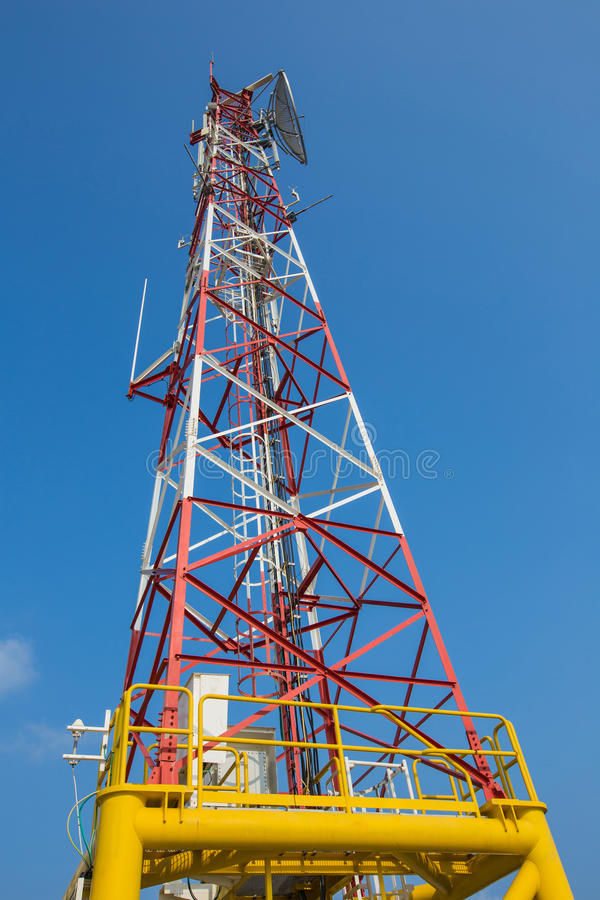 Telecommunication tower, antenna and sattlelite stock images