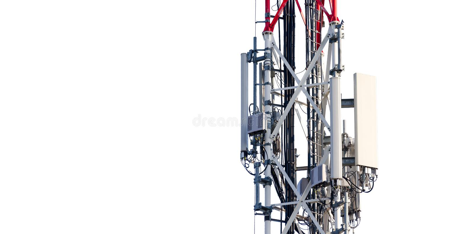 Telecommunication tower antenna with transmitters on metal pole partially isolated on white background.  royalty free stock photo