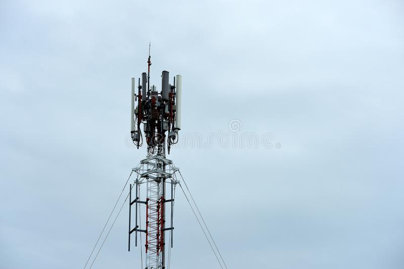 Telecommunication tower with antennas. royalty free stock images