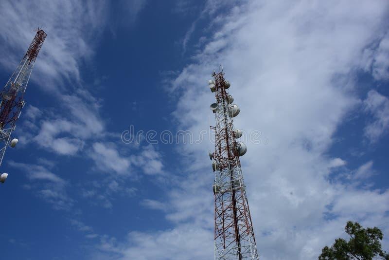 Telecommunication tower with antennas. Wireless Communication Antenna With bright sky.Telecommunication tower with antennas.High pole for signal transmission stock image