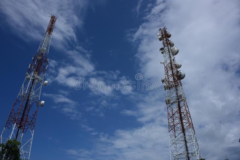 Telecommunication tower with antennas. Wireless Communication Antenna With bright sky.Telecommunication tower with antennas.High pole for signal transmission royalty free stock photo