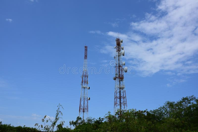 Telecommunication tower with antennas. Wireless Communication Antenna With bright sky.Telecommunication tower with antennas.High pole for signal transmission royalty free stock photography