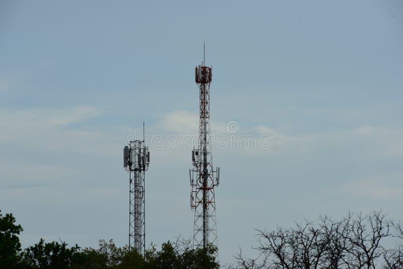 Telecommunication tower with antennas. Wireless Communication Antenna With bright sky.Telecommunication tower with antennas.High pole for signal transmission stock photo