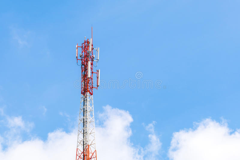 Telecommunication tower with beautiful sky . Telecommunication tower with beautiful sky stock image
