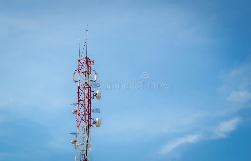 Telecommunication tower. On blue sky royalty free stock image